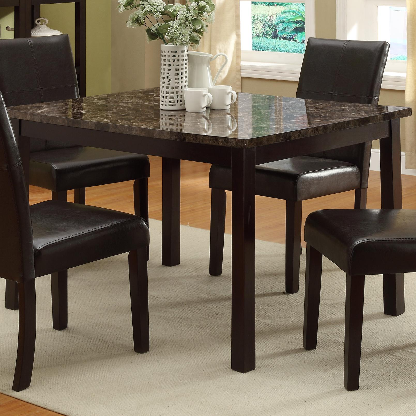 Crown Mark Pompei 2377t 3648 Rectangular Dining Table With Faux Marble Table Top Dunk Bright