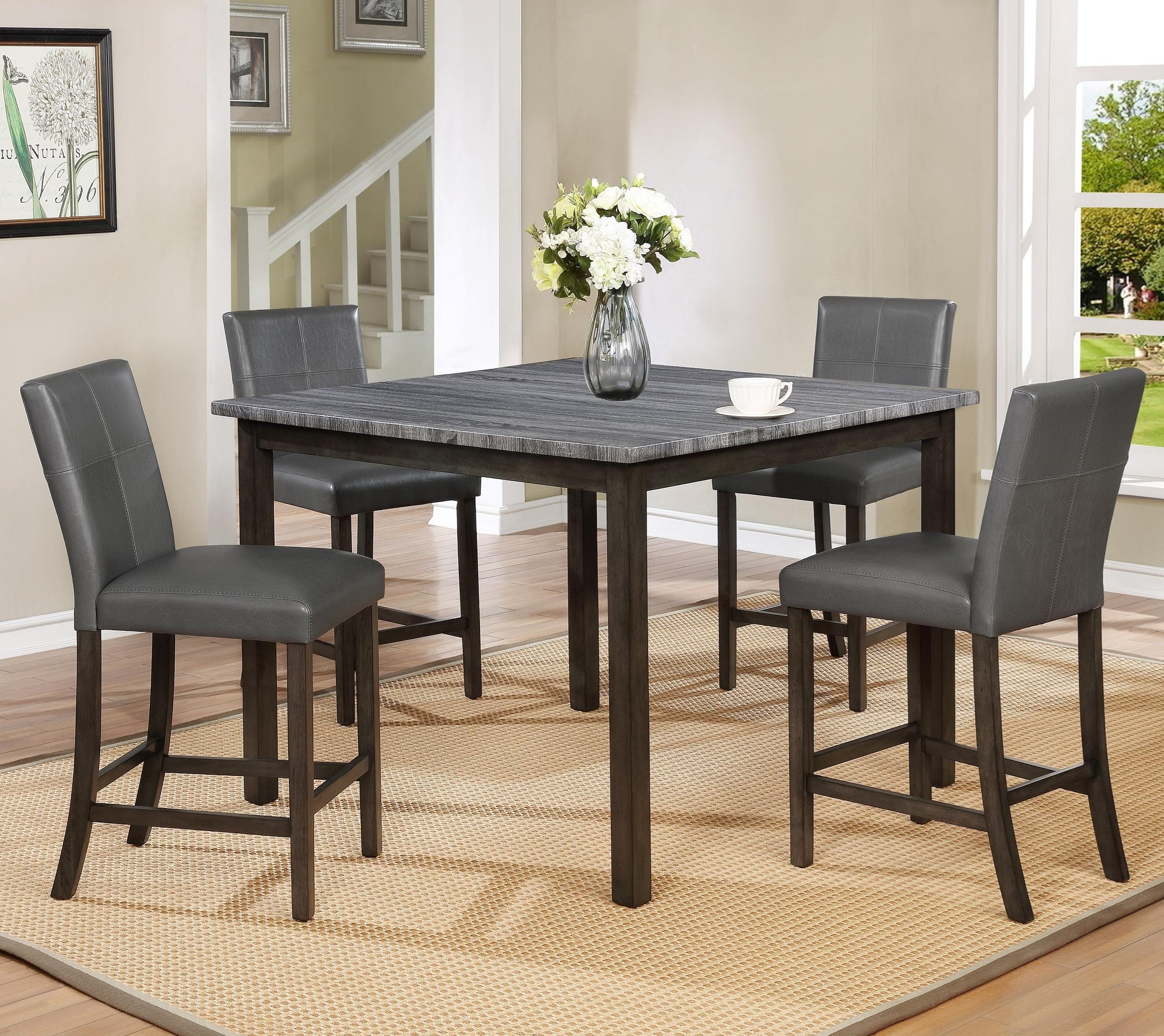 Pompei Five Piece Grey Counter Height Dining Set By Crown Mark At Wayside Furniture