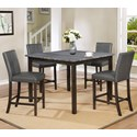 Crown Mark Pompei 5 Pc Counter Height Dining Set - Item Number: 2877GY-T-4848+4X2877GY-S-24