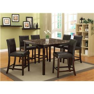 Crown Mark Pompei  7 Piece Counter Height Table Set