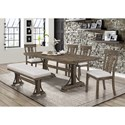 Crown Mark Quincy Dining Set with Bench - Item Number: 2131T-4079+BENCH+4xS
