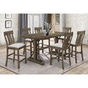 Crown Mark Quincy Counter Height Dining Set - Item Number: 2831T-3671-TOP+BASE+6x24