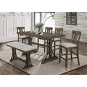 Crown Mark Quincy Counter Height Table Set - Item Number: 2831T-3671-TOP+BASE+BENCH+4x24