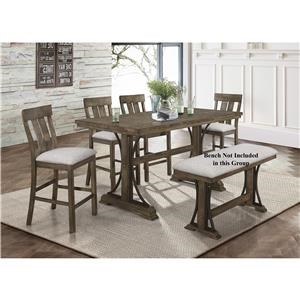 5 Piece Counter Ht Table and Stool Set