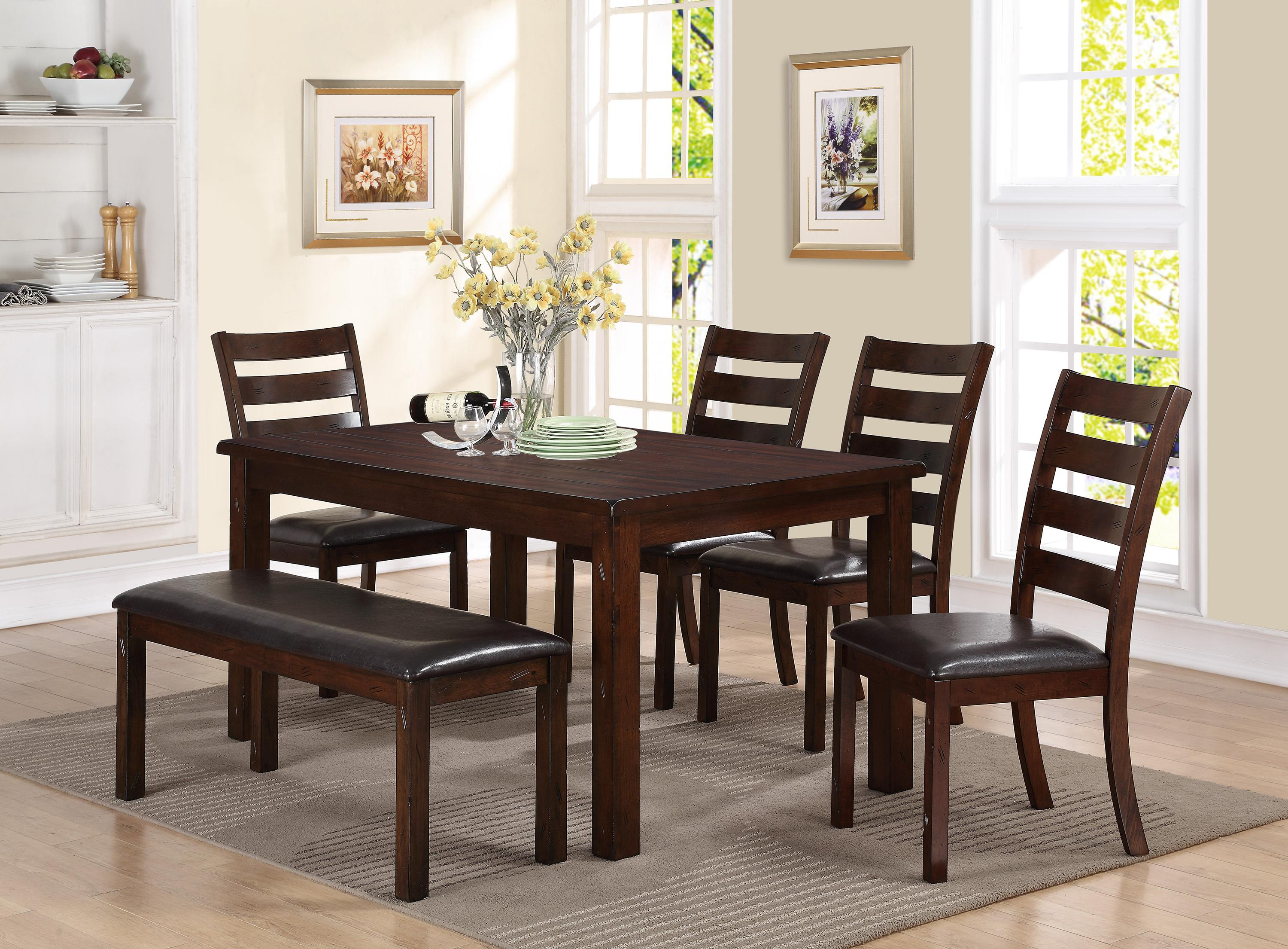 Crown Mark Quinn 6 Piece Dining Set with Bench - Item Number: 2164-6P
