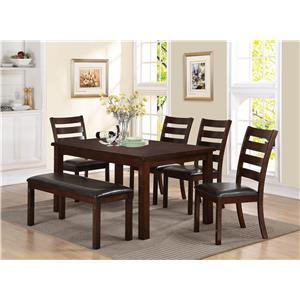 Crown Mark Quinn 6 Piece Dining Set with Bench