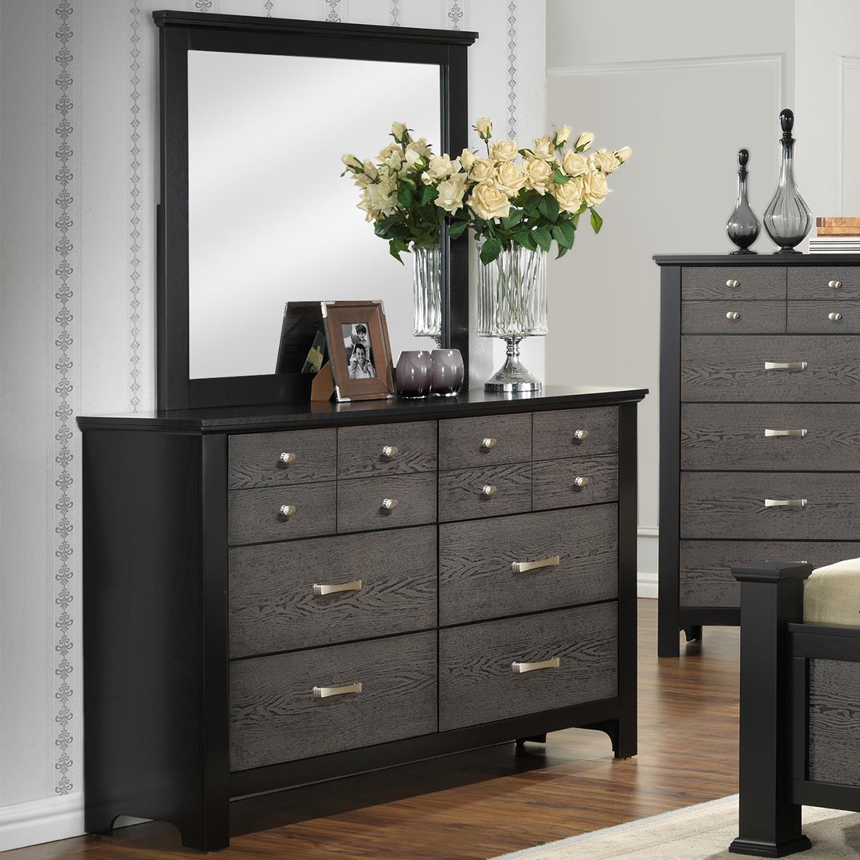 Crown Mark Reagan Dresser and Mirror Set - Item Number: B4100-1+11