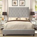 Crown Mark Reese Upholstered Bed - Item Number: 5286-Q-FB+HB+KQ-RAIL-GB