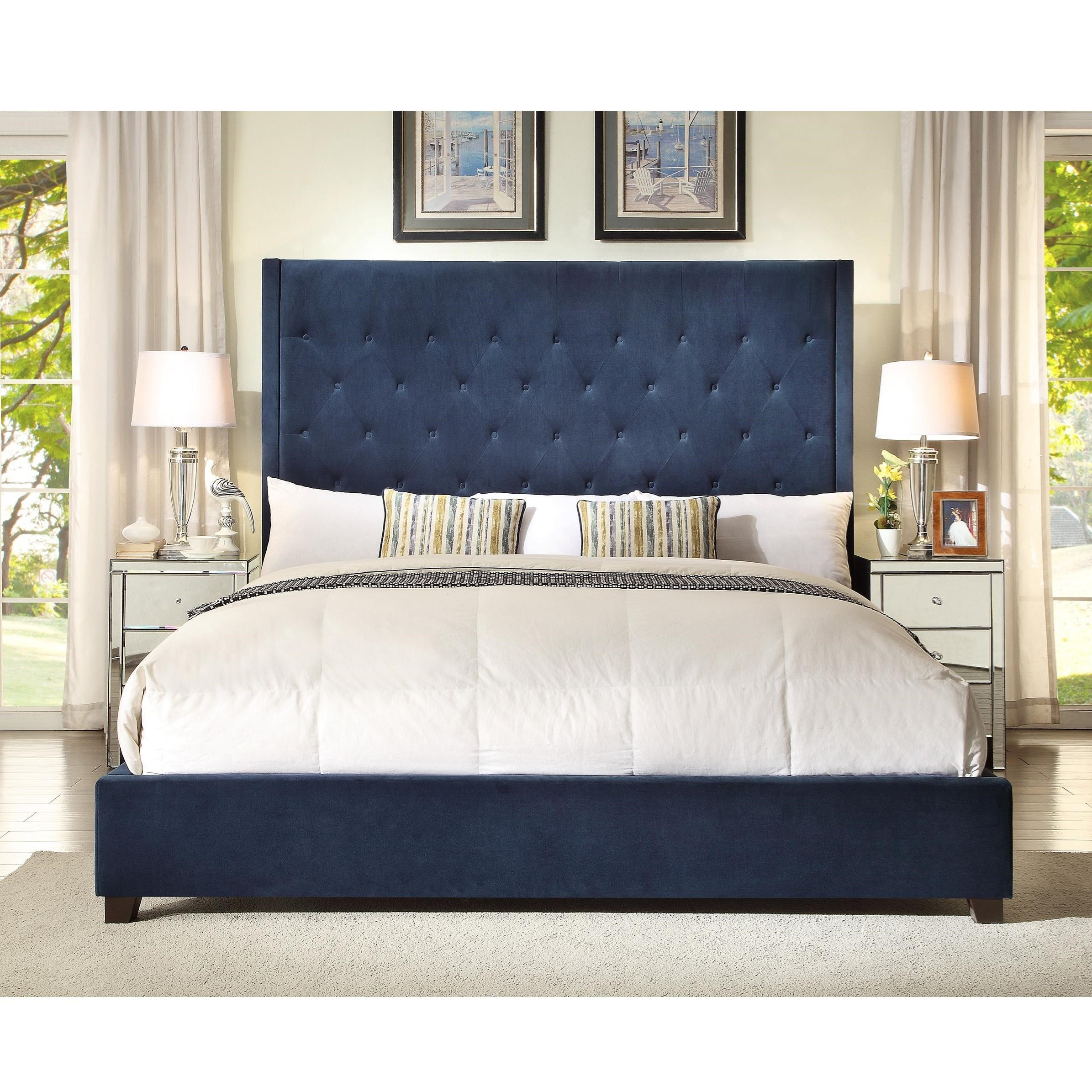 Crown Mark Reese Upholstered Bed - Item Number: 5286-Q-FB+HB+KQ-RAIL-NV