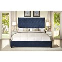 Crown Mark Reese Queen Upholstered Bed with Button Tufting