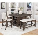 Crown Mark Regent 6 Piece Counter Dining Set - Item Number: 2772T-4854-TOP+BASE+BENCH+4xS-24