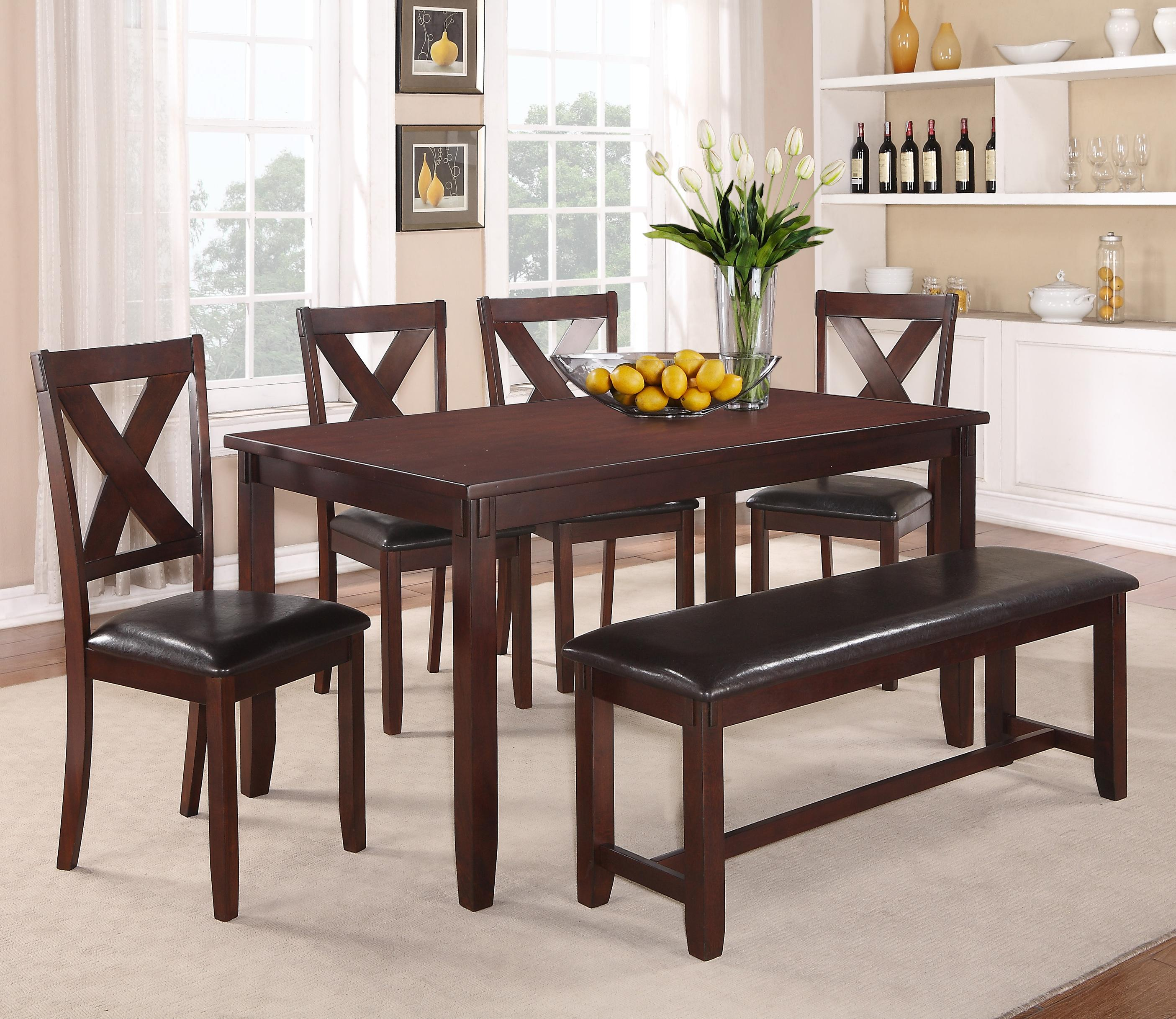 Crown Mark Clara 6 Piece Table and Chairs Set - Item Number: 2321Set+2321Bench