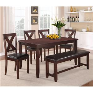 Crown Mark Clara 6 Piece Table and Chairs Set