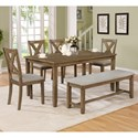 Crown Mark Clara 6 Piece Table and Chairs Set - Item Number: 2321WT-SET+WT-BENCH