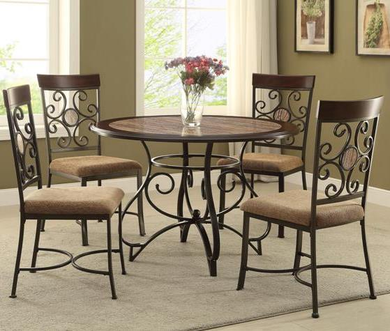 Crown Mark Sarah Casual Table And Chair Set With Scroll