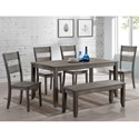 Rooms Collection One Sean 6 Piece Dining Set with Bench - Item Number: 1131T-3664+4xS+BENCH