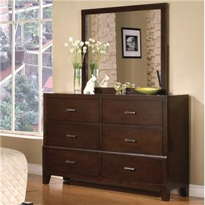 Crown Mark Serena 6 Drawer Dresser with Mirror Combination