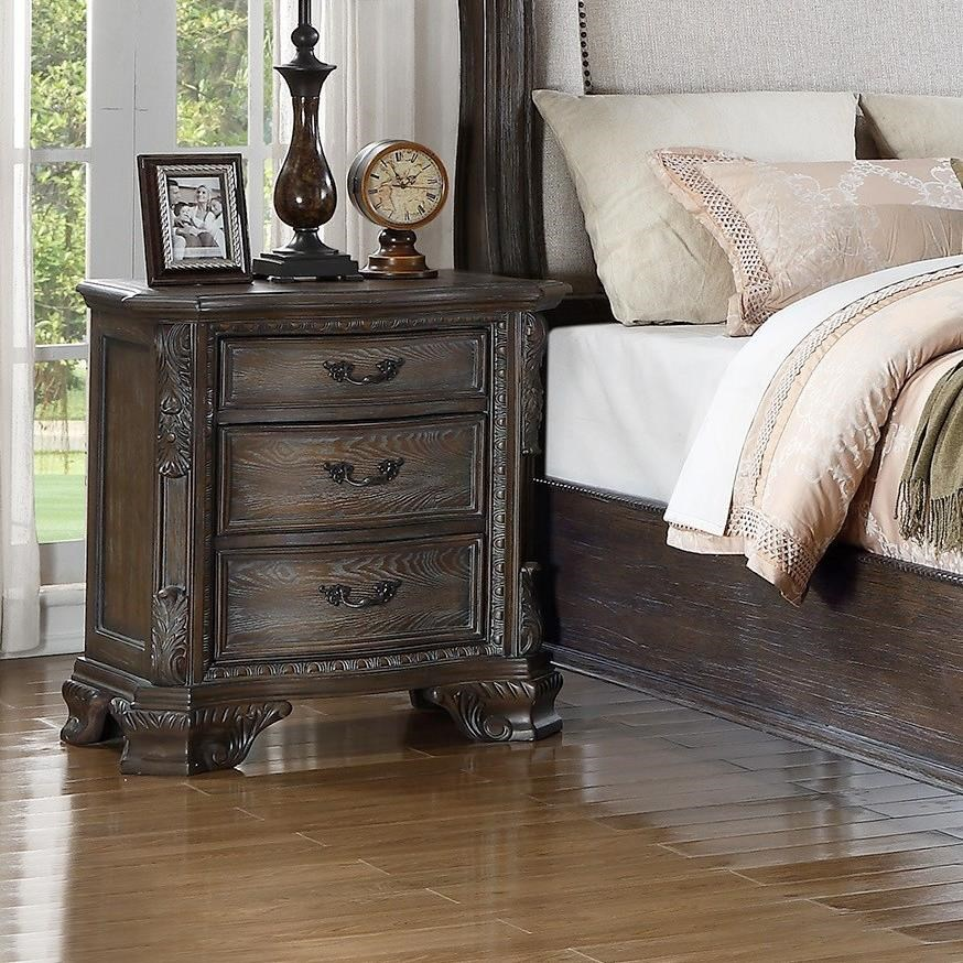 Crown Mark Farrow Queen Bedroom Group: Crown Mark Sheffield Night Stand With Bracket Feet And