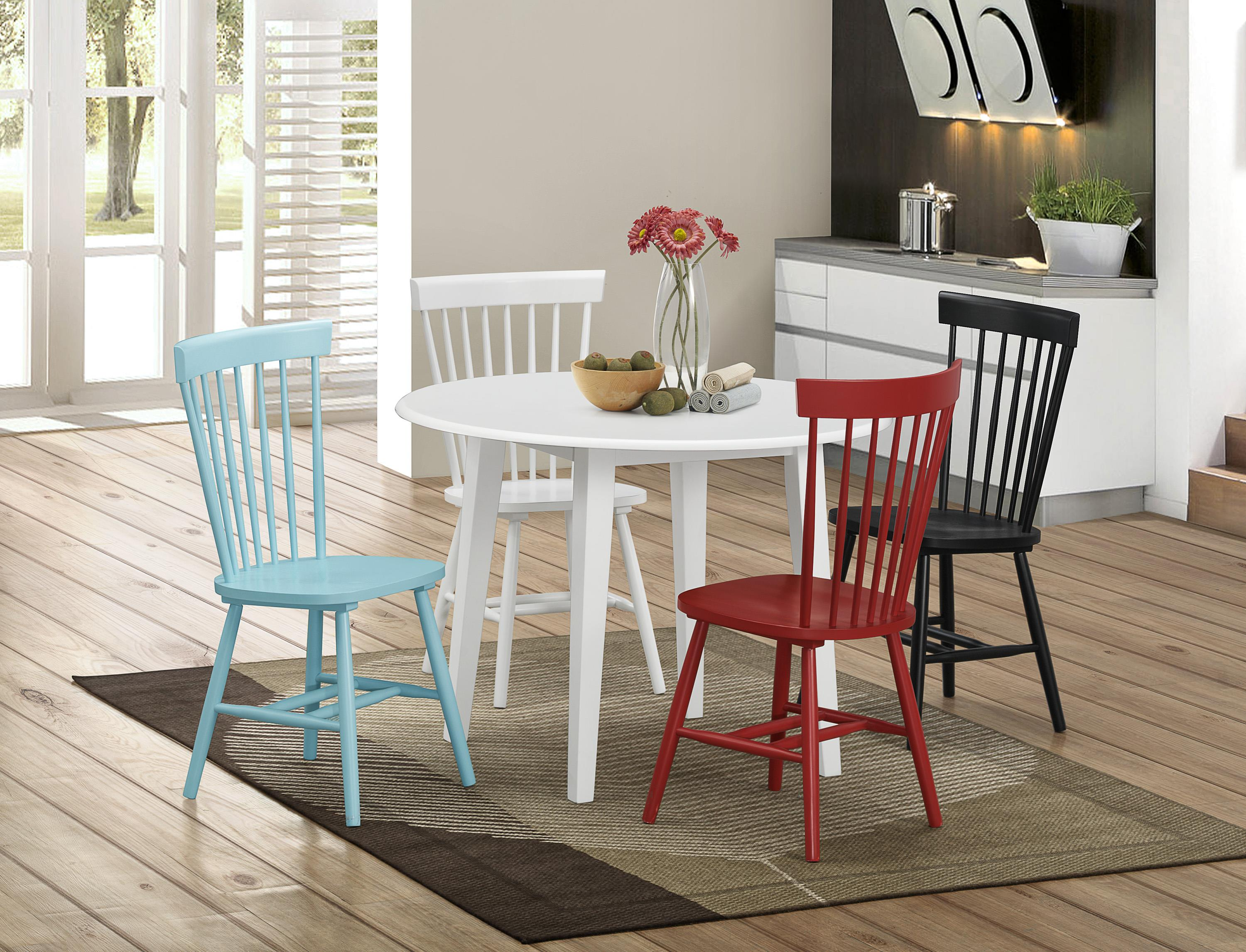 Crown Mark Shelli 5 Piece Table and Chair Set - Item Number: 2301T-42+S-WH+S-RD+S-BU+S-BK