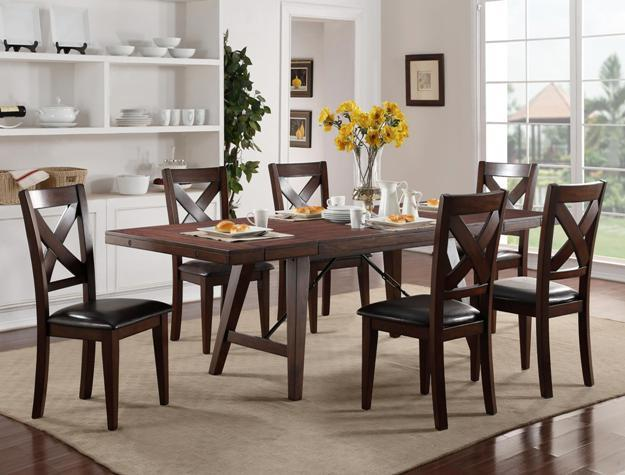 Crown Mark Sierra Table and Chair Set - Item Number: 2103T-4295+6x2103S