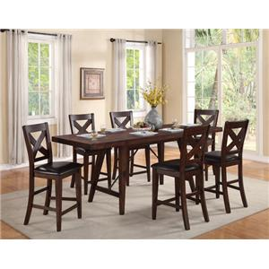 Crown Mark Sierra Counter Height Table and 6 Chairs