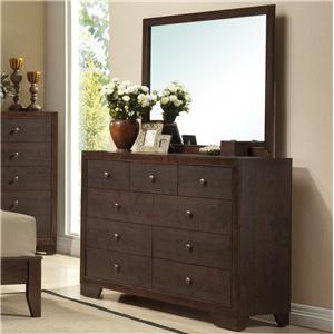 Crown Mark Silvia Dresser & Mirror