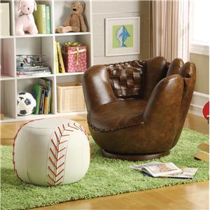 Crown Mark Sport Themed Baseball Glove Chair & Ottoman