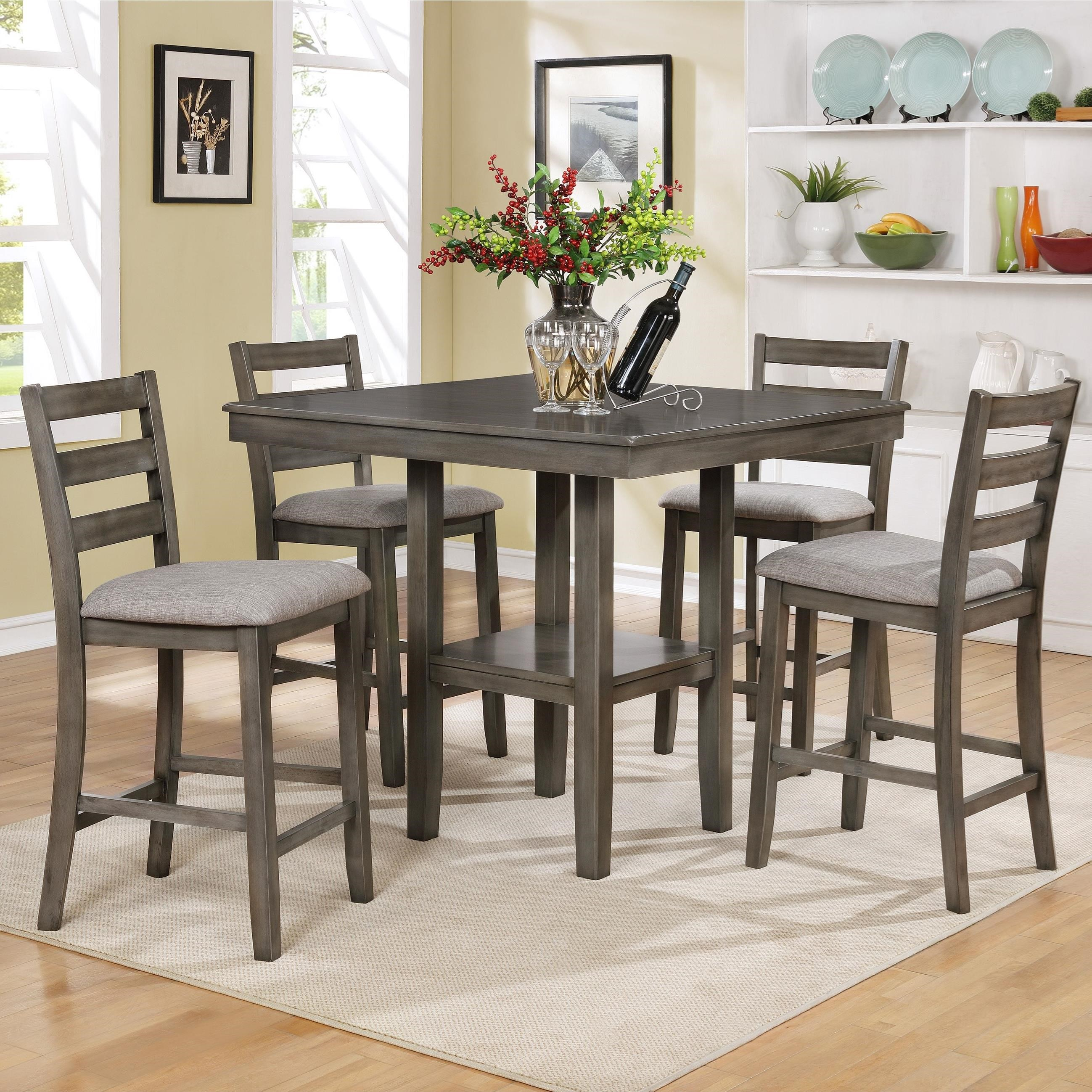 Crown Mark Tahoe 5 Piece Counter Height Table and Chairs Set - Item Number: 2630SET-GY