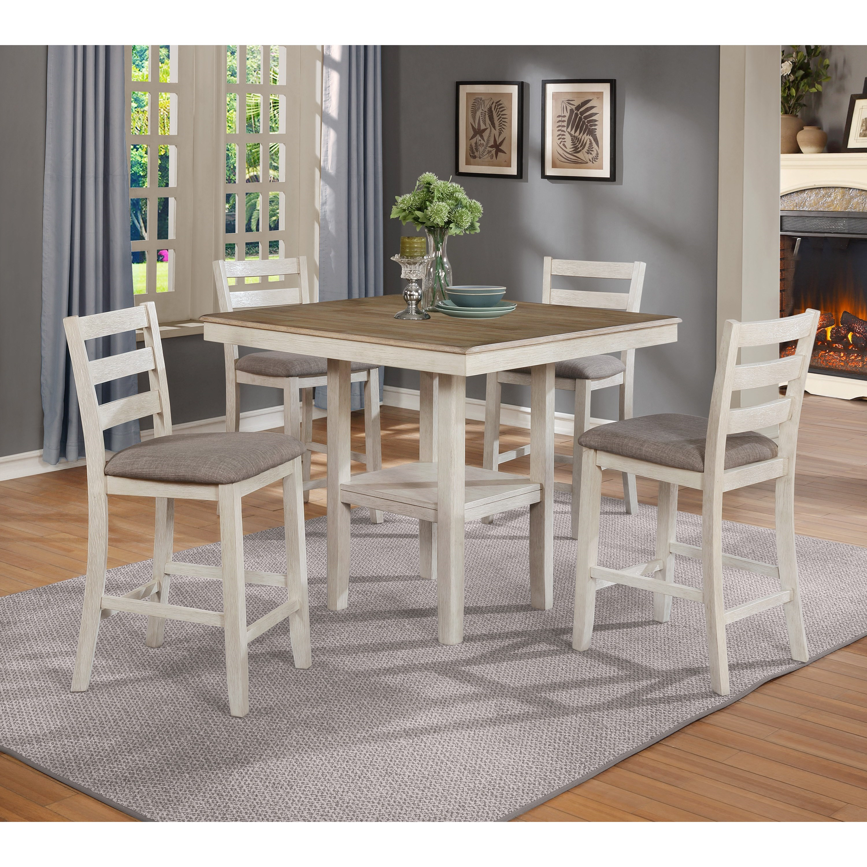 Crown Mark Tahoe 2630set Wh 5 Piece Counter Height Table And Chairs Set Dunk Bright Furniture Pub Table And Stool Sets