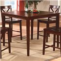 Crown Mark Theodore 5 Piece Counter Height Table Set with 4 Crossback Chairs - Square Pub Table