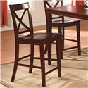 Crown Mark Theodore 5 Piece Counter Height Table Set with 4 Crossback Chairs - Crossback Counter Height Stool