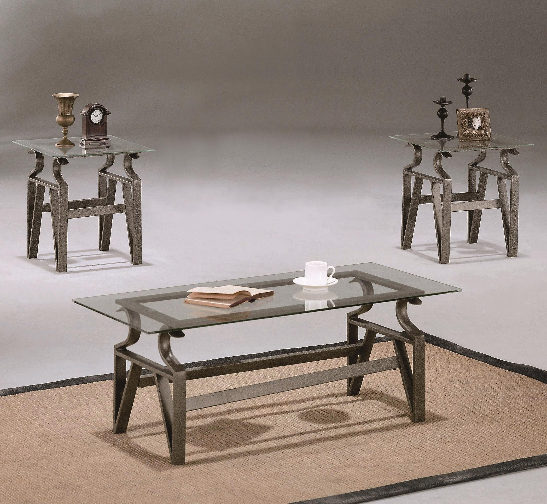 Crown Mark Triad 3 Piece Occasional Table Group - Item Number: 3811-BASE-N+GL-5CL