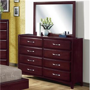 Crown Mark Vera Dresser with Mirror Combination