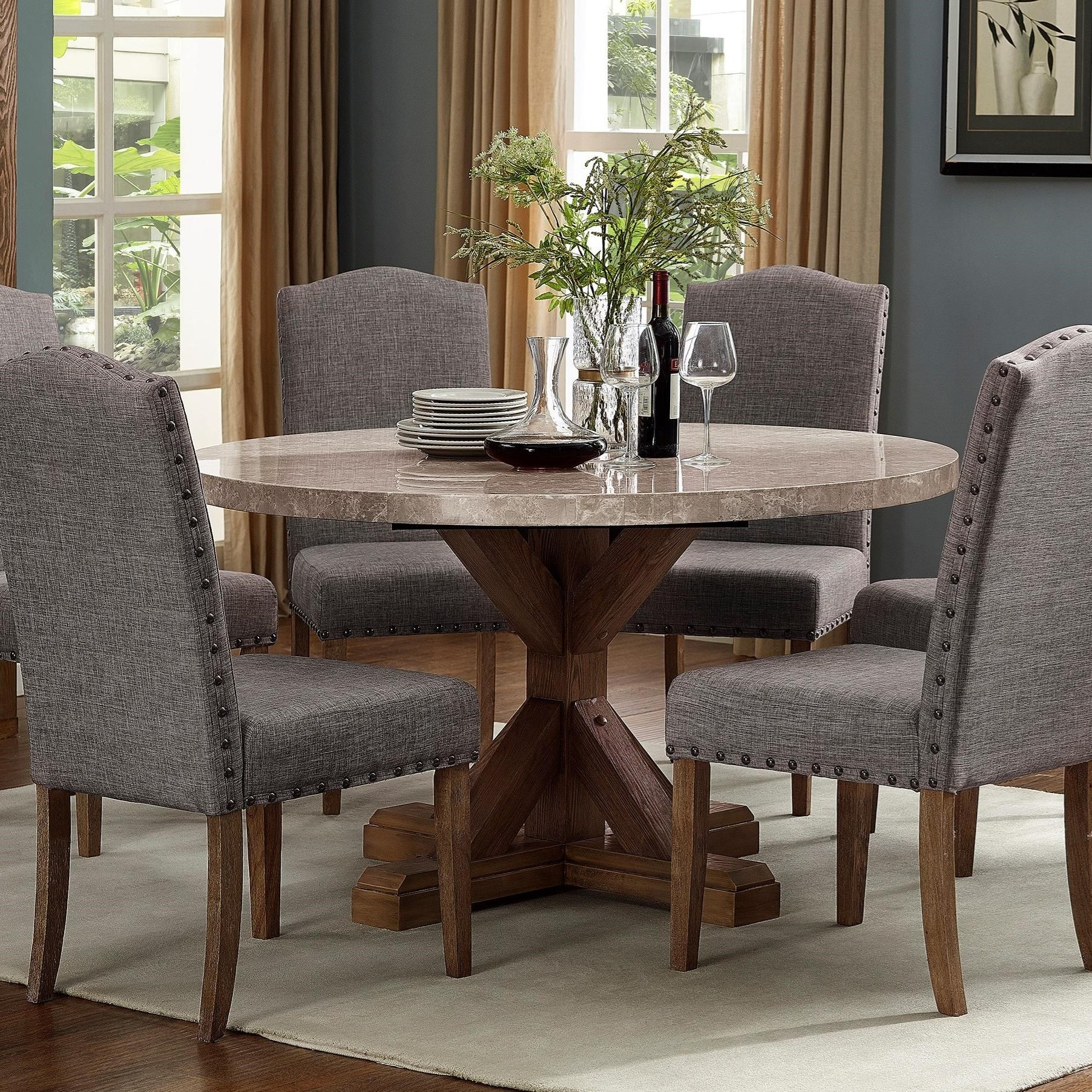 Kitchen Tables Furniture: Crown Mark Vesper Dining Round Dining Table With Pedestal