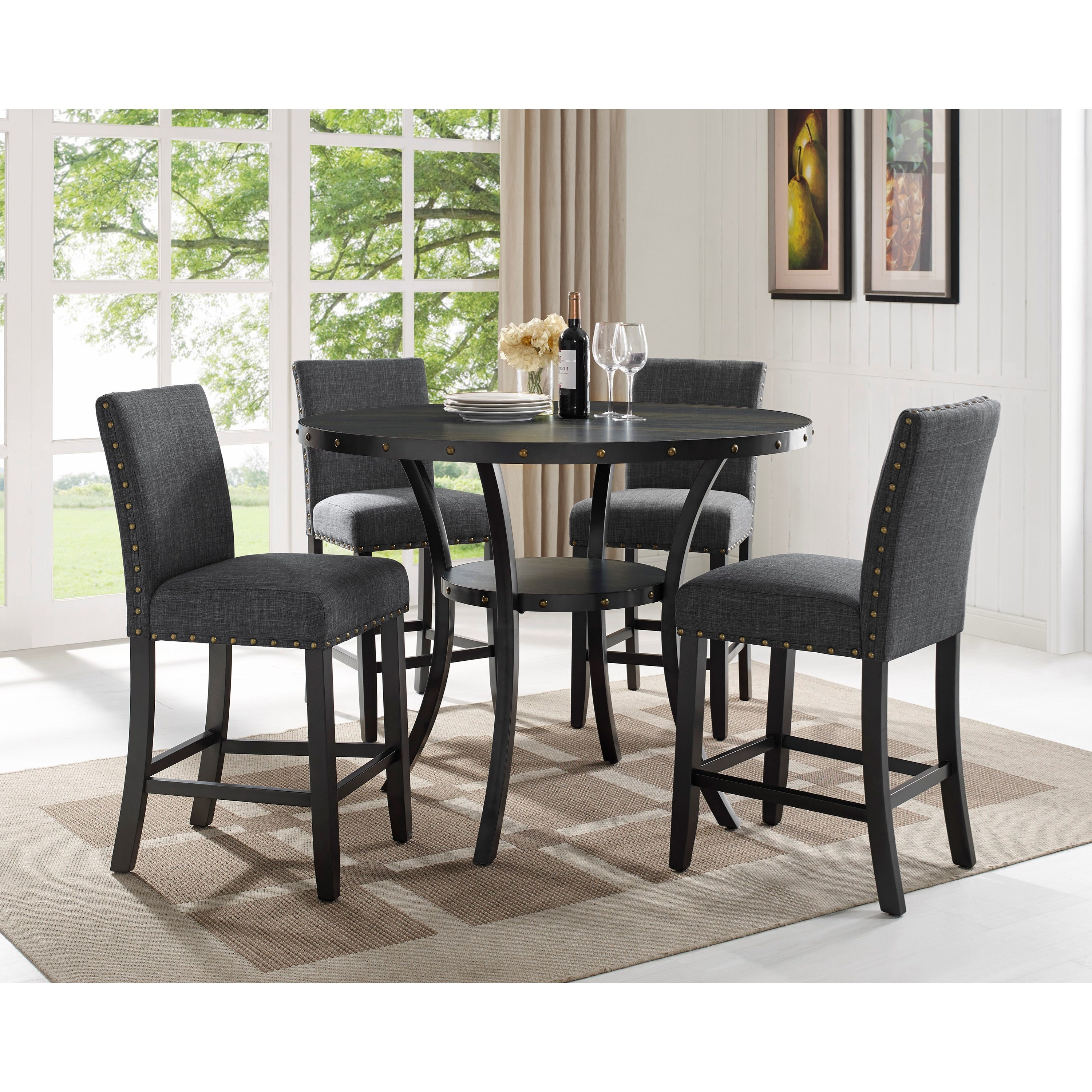 Crown Mark Wallace Five Piece Chair Pub Table Set Royal Furniture Pub Table And Stool Sets