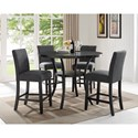 Crown Mark Wallace Five Piece Chair & Pub Table Set - Item Number: 1713DGY-T-48+4xS-24