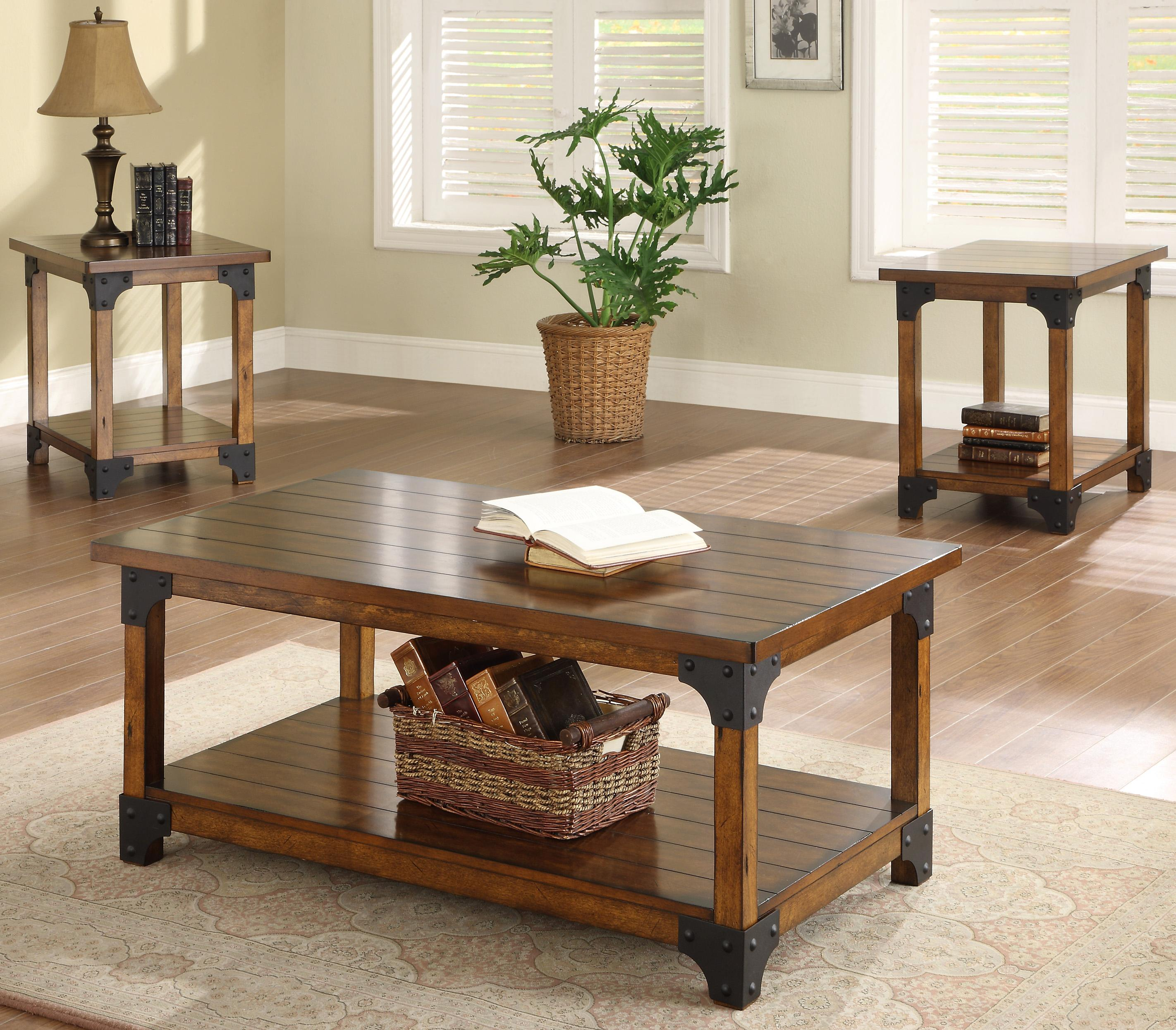 Crown Mark William 4159set 3 Piece Brown Cocktail Set With 2 End Tables Del Sol