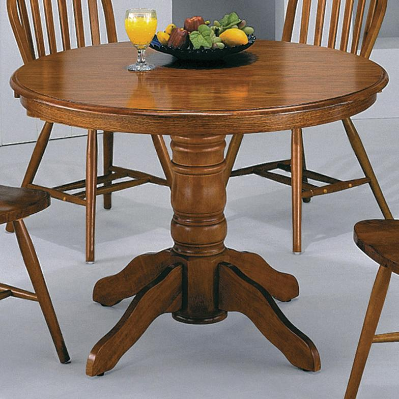 crown mark windsor solid dark oak round pedestal table item number 1056doak - Pedestal Kitchen Table