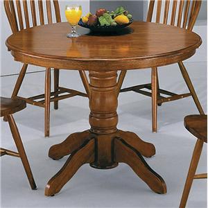 Crown Mark Windsor Solid Dark Oak Round Pedestal Table