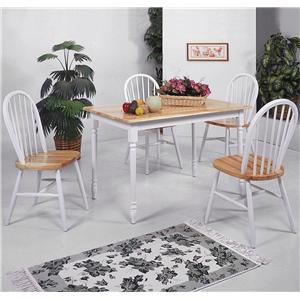 Crown Mark Windsor Solid 5 Piece Slim Rectangular Table and Chairs Set