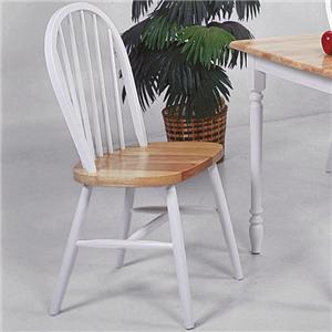 Crown Mark Windsor Solid White and Natural Dining Side Chair