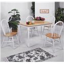 Crown Mark Windsor Solid White and Natural Dining Side Chair - Shown with Coordinating Rectangular Leg Table
