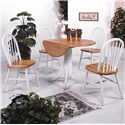 Crown Mark Windsor Solid White and Natural Dining Side Chair - Shown with Coordinating Round Table