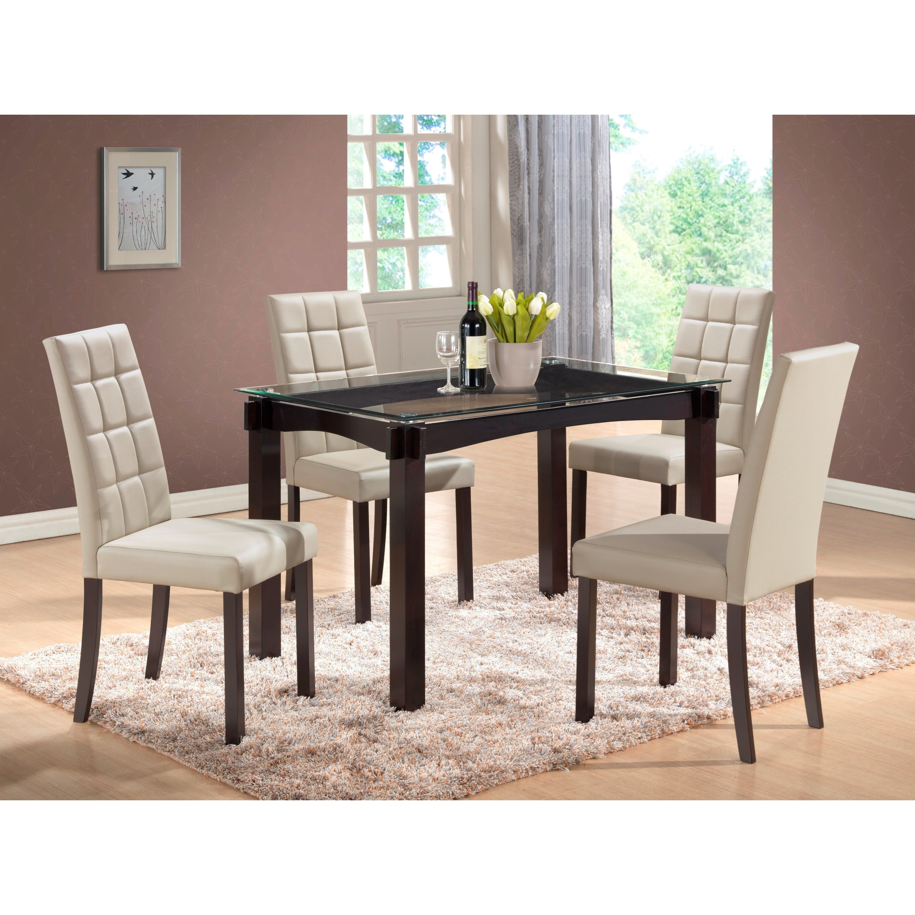 Crown Mark Zora 5 Piece Glass Table and Chair Set Wayside