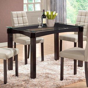 Crown Mark Zora Glass Top Dining Table