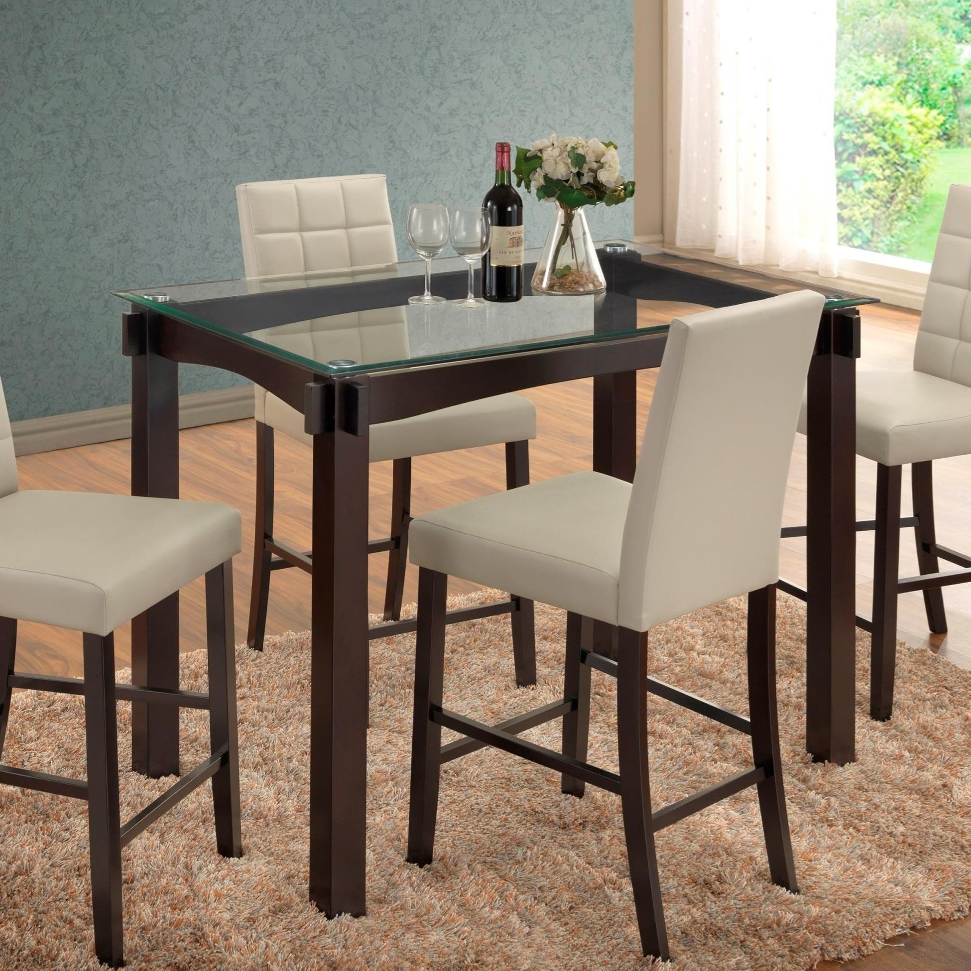 Cm Camelia 7 Piece Espresso Table Upholstered Chair Set