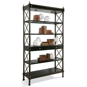 Masterpiece Empire Etagere in Ebony Finish with Aged Gold Accents by CTH Sherrill Occasional