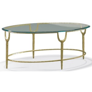 Masterpiece - Trifecta Oval Cocktail Table with Hammered Texture Iron Base by CTH Sherrill Occasional