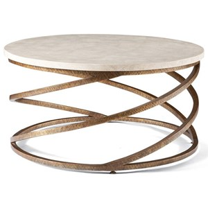 Masterpiece - Boing Round Cocktail Table with Spiraled Wrought Iron Base by CTH Sherrill Occasional