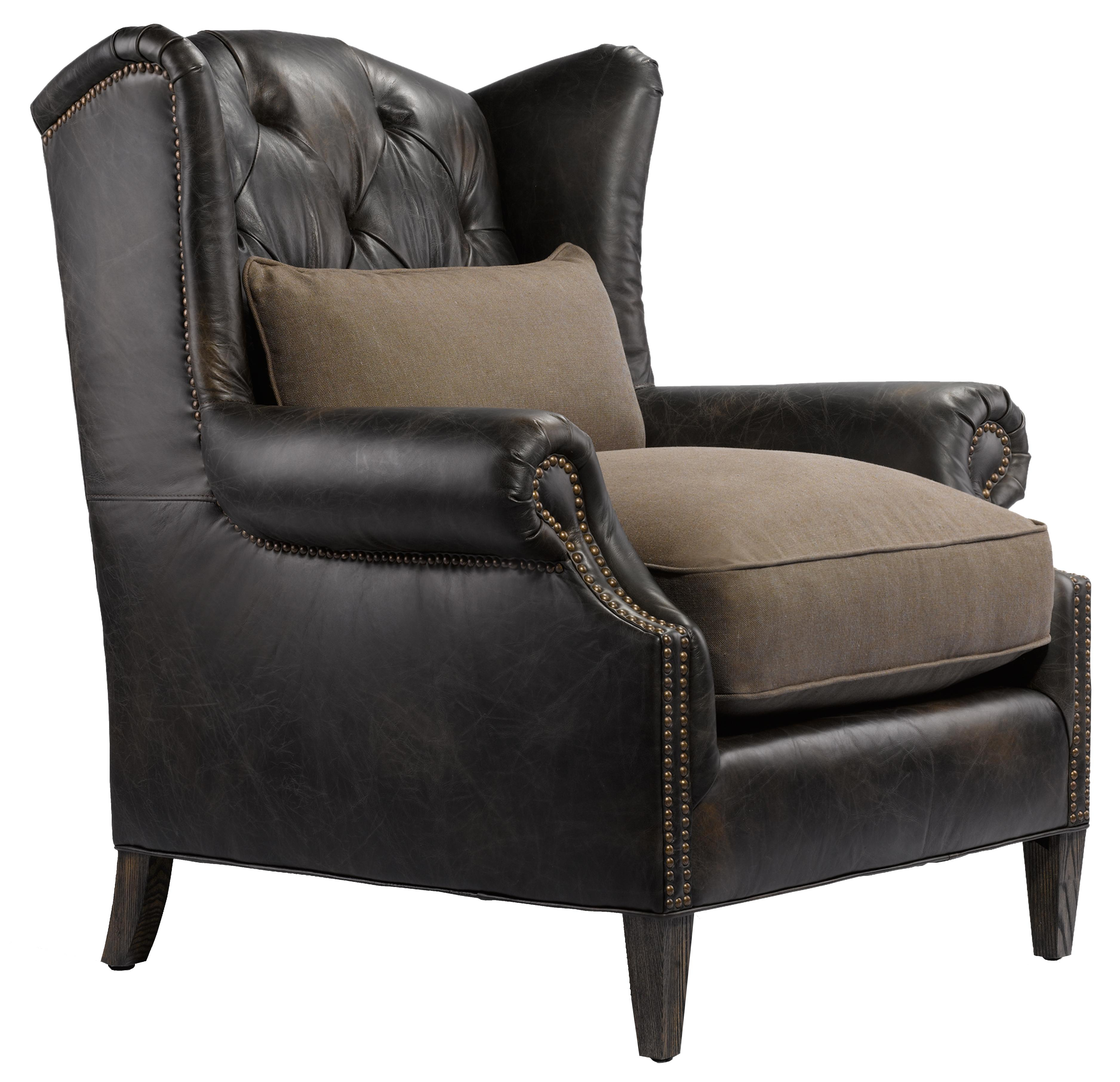 Cigar Club Lauran Vintage Wing Chair With Rolled Arms And Seat Back Tufts